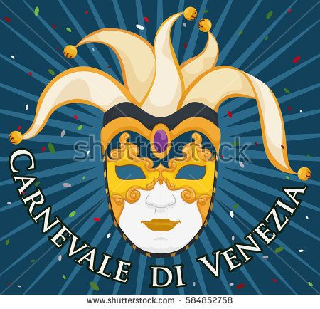 Commemorative poster with a colorful gilded volto mask with harlequin design in a rain of confetti celebrating Venice Carnival (written in Italian).