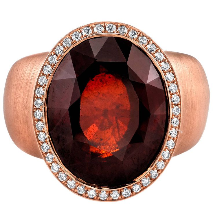 13.87 Carat Garnet Diamond Rose Gold Cocktail Ring | From a unique collection of vintage cocktail rings at https://www.1stdibs.com/jewelry/rings/cocktail-rings/