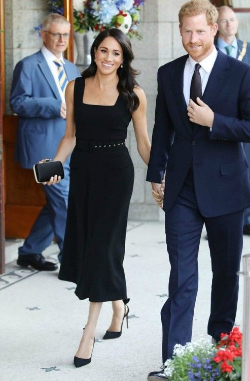 95b2a378a28 Meghan Markle (and Prince Harry) at British Ambassador of Ireland s  Residence   Meghan was an epitome of elegance in a black bespoke Emilia  Wickstead midi ...