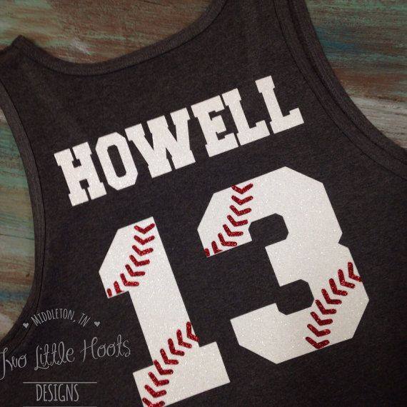 One of our unique Glitter Baseball tank where the white glitter numbers have red glitter ball seams in it for a cool look. Back: get a name