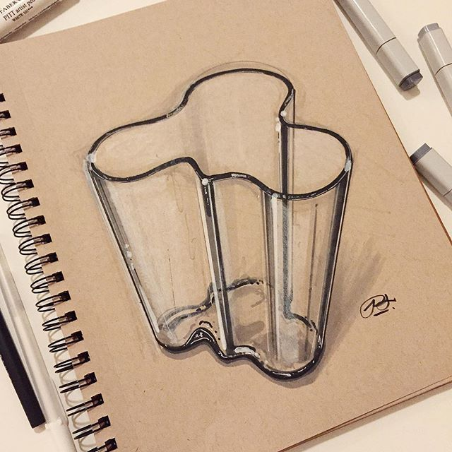 The 1936 Savoy Vase designed by Alvar Aalto and his wife Aino Marsio for the Savoy restaurant in Helsinki. #alvaraalto #ID #industrialdesign #productdesign #savoy #savoyvase #idsketching #sketch #sketchaday #sketchbook #design #drawing #architecture #architect @calvin_lien @iittala