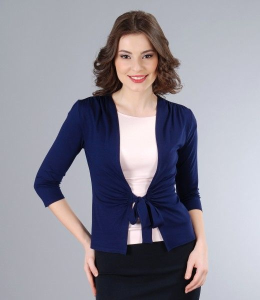 Dark blue jersey blouse tied with belt