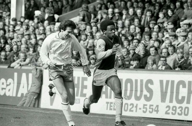 Aston Villa 1 Birmingham C. 0 in April 1983 at Villa Park. Mark Walters and Byron Stevenson give chase #Div1