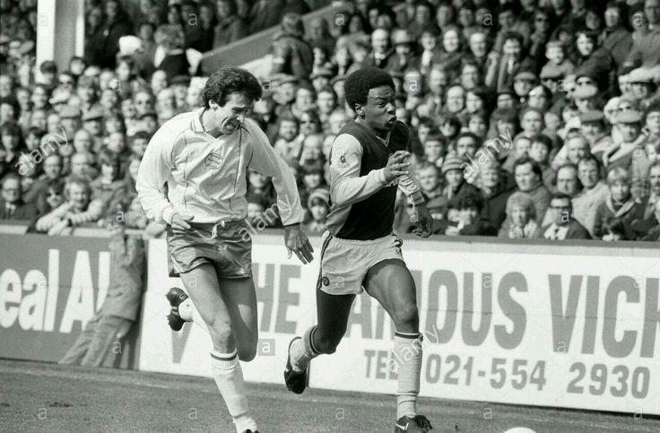 Aston Villa 1 Birmingham C. 0 in April 1983 at Villa Park. Mark Walters and Byron Stevenson give chase #Div1