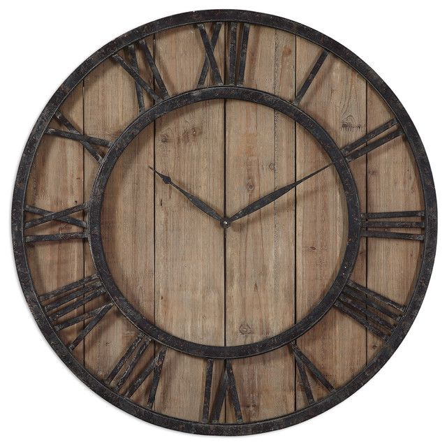 Captivating Uttermost Powell Wooden Wall Clock   In.   The Modern Rustic Appeal Of The  Uttermost Powell Wooden Wall Clock Is Hard To Find. The Aged Bronze Roman  Numeral ...