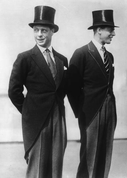 1927: The Prince of Wales, later King Edward VIII, with his brother, the Duke of Kent, on their American Tour, both in top hats and tails. (Photo by Fox Photos/Getty Images)England, Bespoke Tailored, Top Hats, King Edward, Tops Hats, Edward Viii