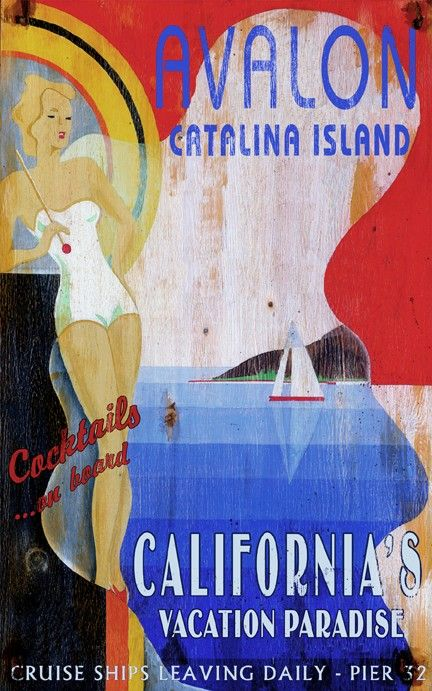 Avalon, Catalina Island..off the coast of Los Angeles..vintage travel poster