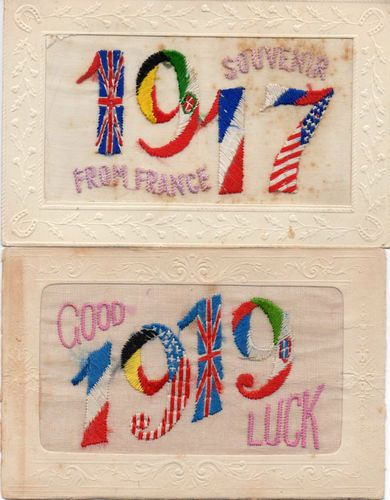 2X Dates Embroidered Patriotic WW1 Silk Postcards. Mine do not have date.