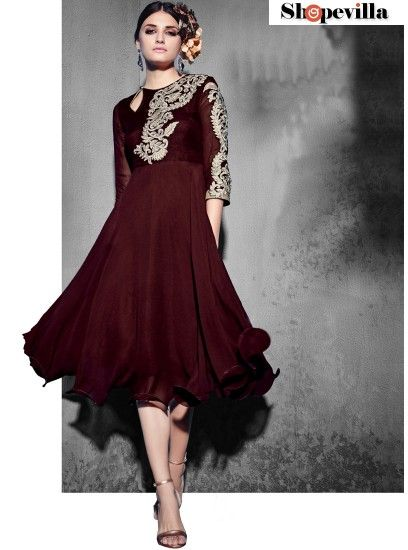 Sizzling Brown Georgette Party Wear Kurti-8007