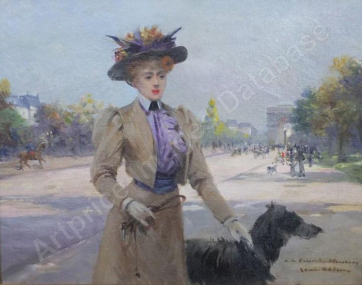 Madame la vicomtesse de beaurieux et son chien, avenue du bois a paris, vente aux enchères de louise abbéma