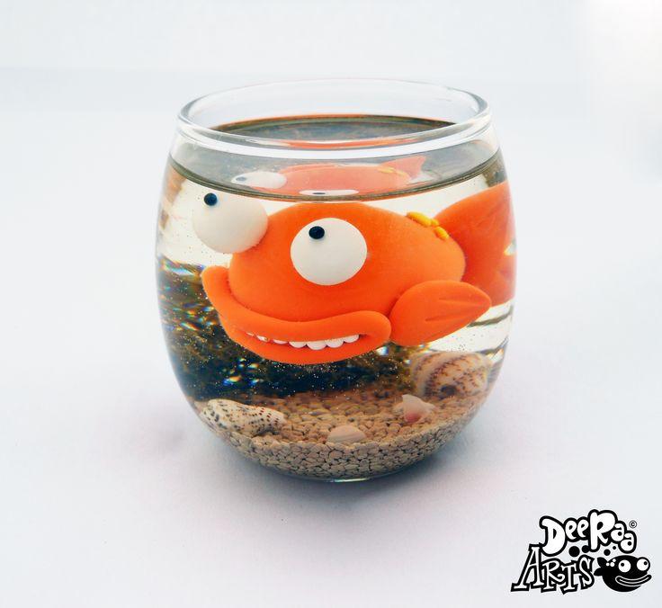 Goldfish Bowl by Dee Raa Arts polymer clay cute kawaii sculpey gold fish fimo https://www.facebook.com/DeeRaaArts