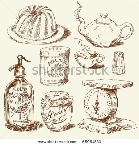 hand drawn food collection by Canicula, via ShutterStock