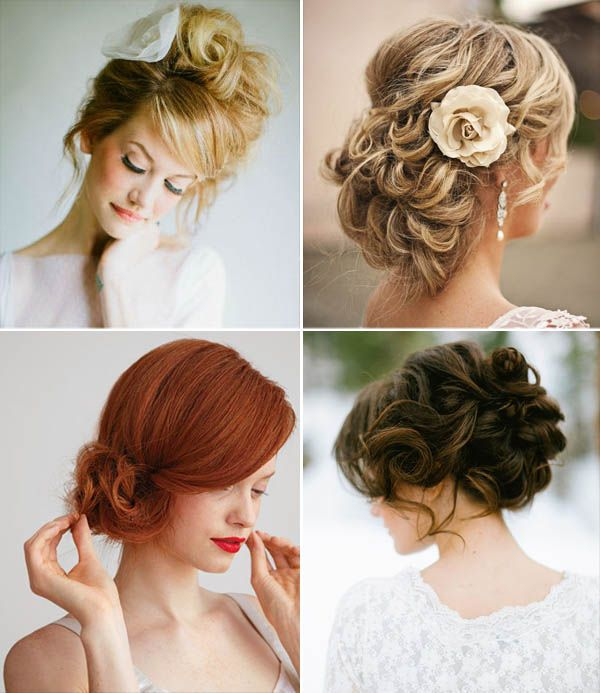 Acconciature da sposa: i raccolti - The two bottom hairdos are lovely.