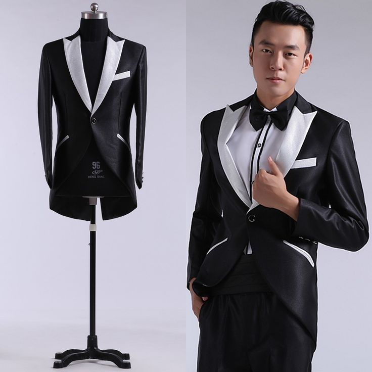 ==> [Free Shipping] Buy Best PYJTRL (JacketPants) 2017 Men's Banquet Dinner Black Coattail Stage Wedding Groom Tuxedos Mens Tail Coat With Pants Online with LOWEST Price | 32795471468