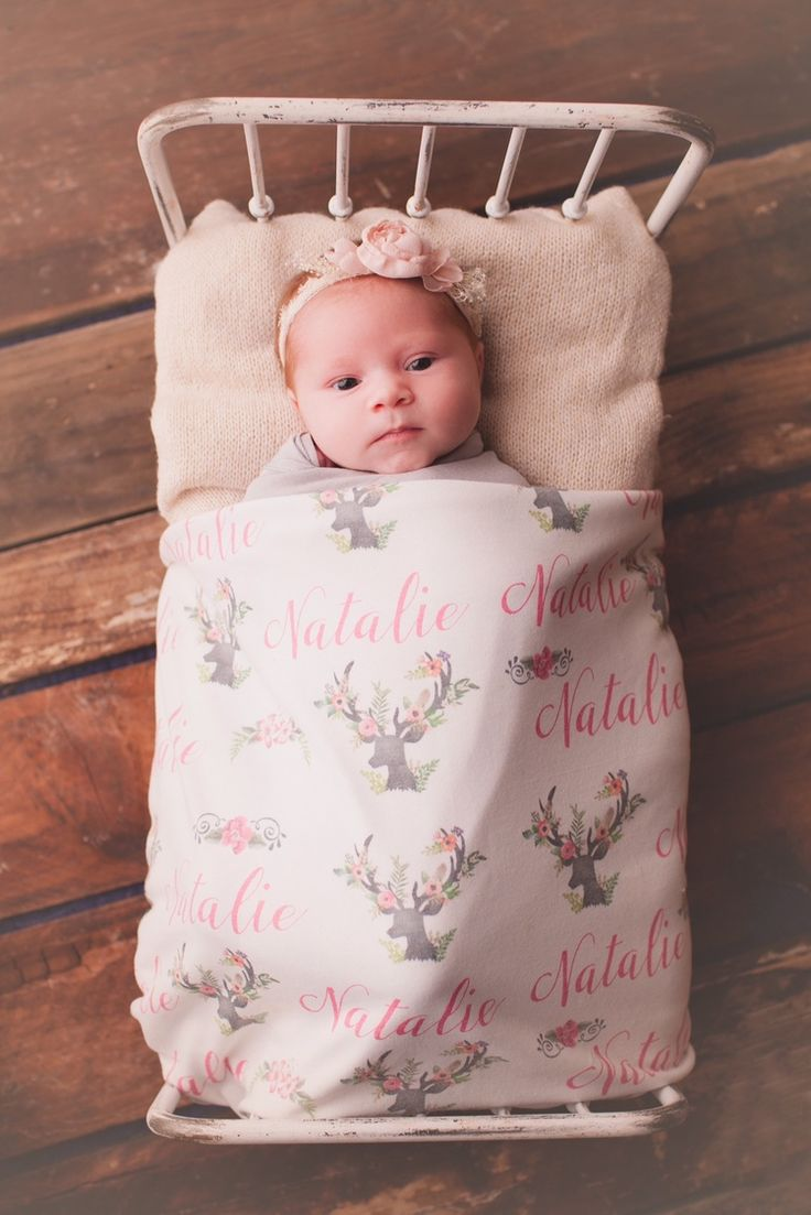 Personalized Baby Receiving Blanket Deer and Antlers with Flowers Baby Swaddle 1