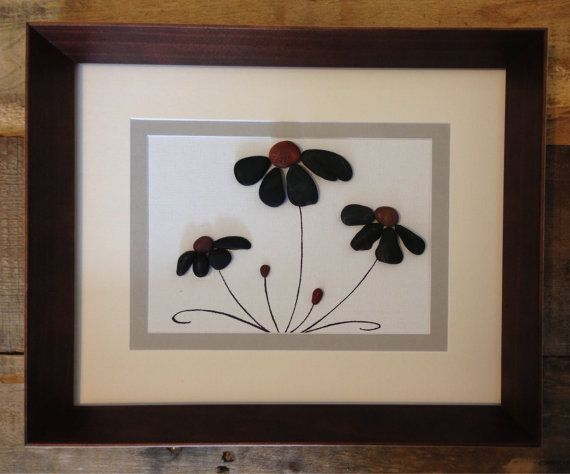 Pebble Art Home Decor Beach Decor Flowers Framed Art