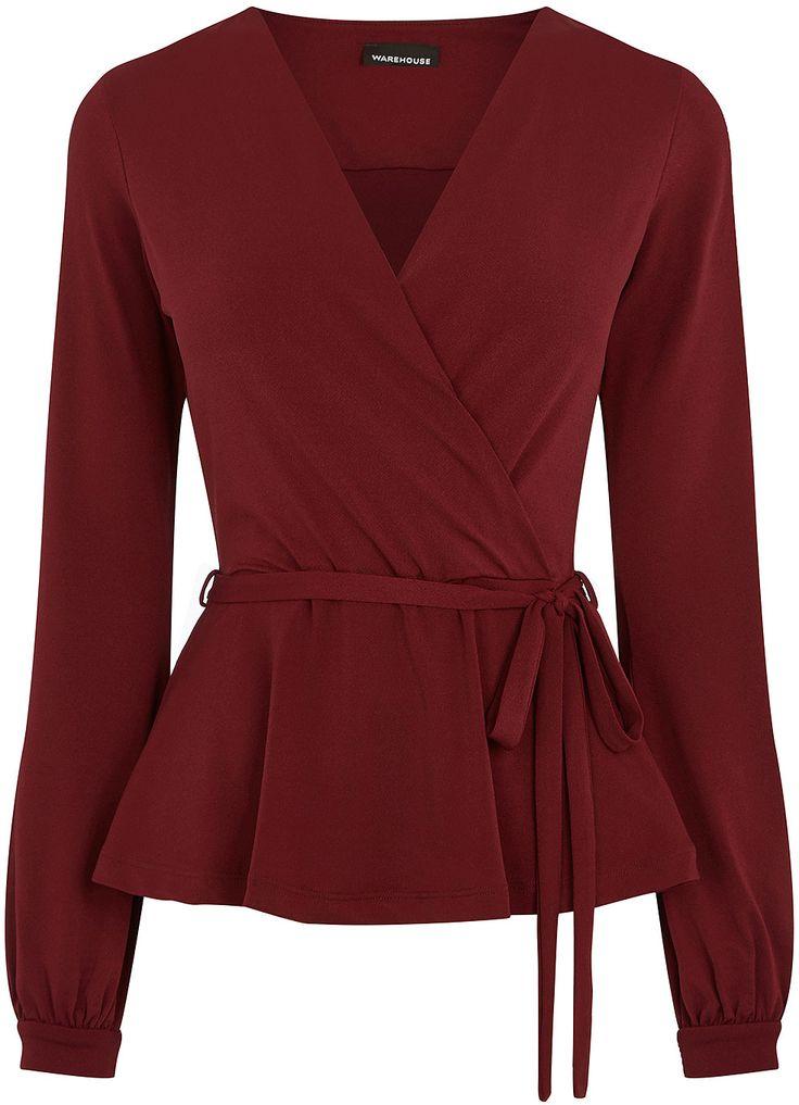 Womens burgundy crepe long sleeve wrap top from warehouse for Burgundy long sleeve t shirt womens