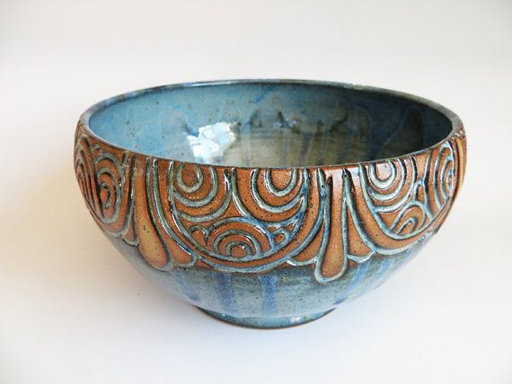 Hand Carved MultiRound Line Green/Brown Bowl by EKSPottery on Etsy