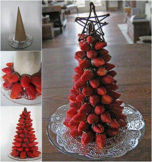 DIY Strawberry Christmas Tree christmas diy christmas ideas craft christmas decor craft xmas tree decorations craft christmas ideas christmas party ideas craft christmas food