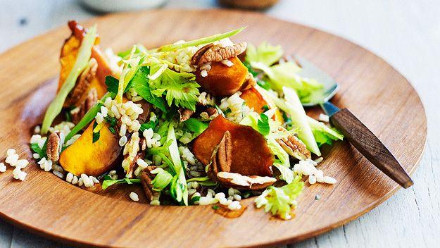 Brown rice and roast pumpkin salad