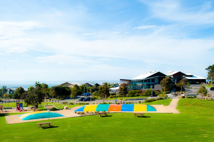 The jumping pillows in the village green. Image: Silverwater Resort Phillip Island