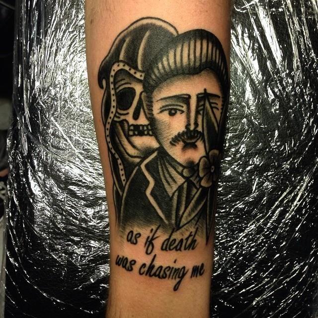 Oldschool tattoo blackwork death by tattoo artist William Roos of StockholmInk Stockholm, Sweden