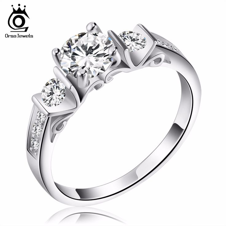 ORSA JEWELS Fashion Women Engagement Silver Ring with Shiny Cubic Zirconia 2016 New Style Wedding Bands Ring Jewelry OR130