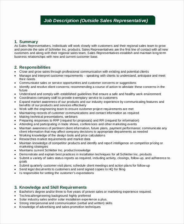 Sales Representative Resume Description Elegant Sales Representative Job Description Samples Exa In 2020 Sales And Marketing Jobs Job Description Nurse Job Description