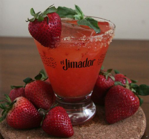 Strawberry Basil Margarita with El Jimador Tequila and Shard Clear Ice