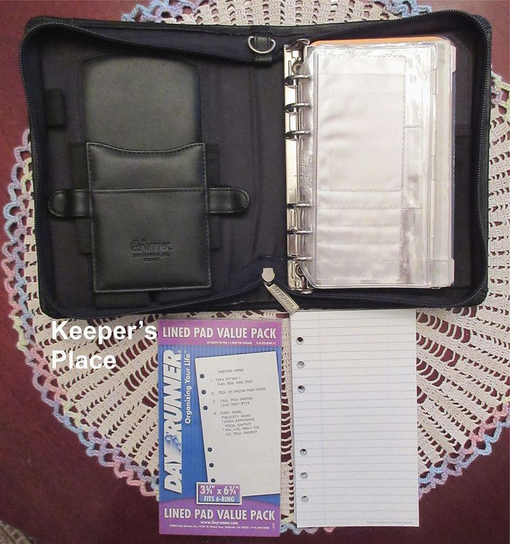 Day Runner Compact Executive Planner Binder Black Faux Leather 2022-52 Extras #DayRunner