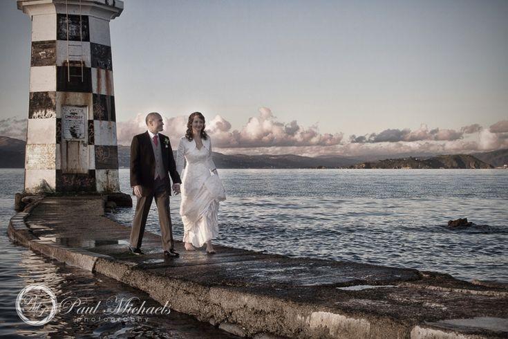 Point Halswell lighthouse walkway. Wedding photography Wellington http://www.paulmichaels.co.nz/