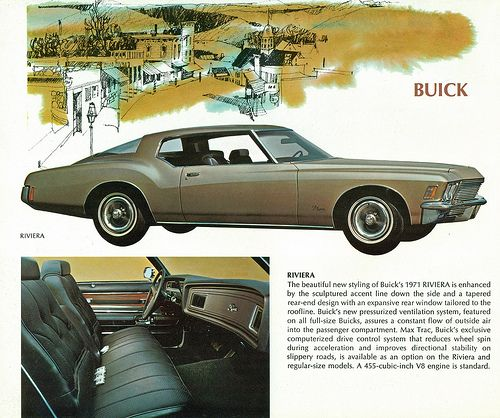 "1971 Buick Riviera. The ""boat tail"" body style. Note the double bay concave dash."