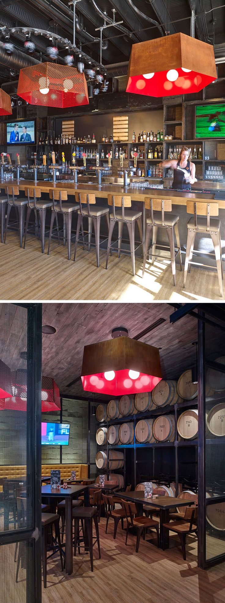 This industrial brew pub features a casual dining area as well as a large bar area both with large copper lights above them. The use of pipes in place of more traditional looking beer taps, together with wooden elements create an industrial look throughout the space.