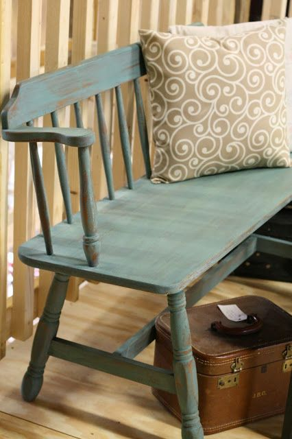inspiration for Grandma's bench -- maybe dark red? Milk Paint Bench  Primitive & Proper: