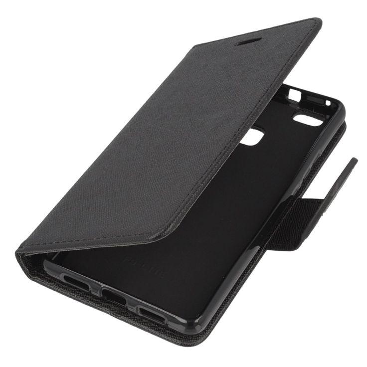 Fancy Diary Case - кожен калъф, тип портфейл и поставка за Huawei P9 Lite (черен): Изработка от висококачествена еко кожа… www.Sim.bg