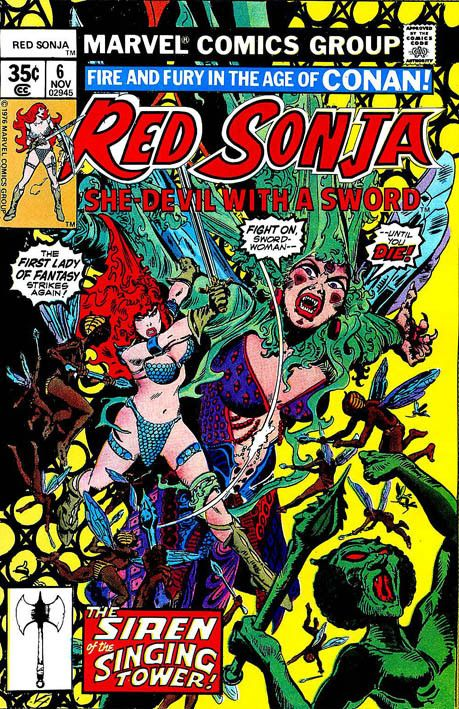 """Red Sonja"" 6 (1977) Cover di Frank Thorne #Marvel #RedSonja #Fantasy"