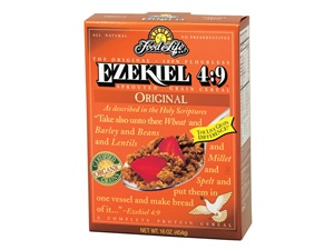 Ezekiel 4:9 Sprouted Grain Cereal - Original  Weight: 16 oz  UPC: 07347200255 1  Item #: 255C6  Most like our World Famous original Ezekiel 4:9 Bread - this cereal has a simple flavor and can be used as a topping for yogurt, ice cream or as a snack.  INGREDIENTS: Organic Sprouted Whole Wheat, Organic Malted Barley, Organic Sprouted Whole Barley, Organic Sprouted Whole Millet, Organic Sprouted Whole Lentils, Organic Sprouted Whole Soybeans, Organic Sprouted Whole Spelt, Filtered Water, Sea…