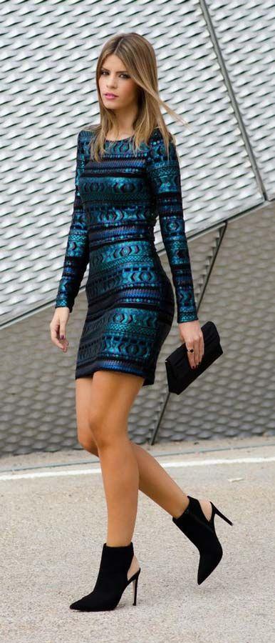 #sequin blue #mini dress #outfit