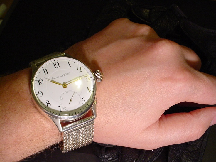 IWC Schaffhausen in sterling silver case with sterling silver Milanese bracelet ... the entire was made by hand!