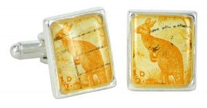 Yellow Kangaroo vintage stamp and silver plate cufflinks - $110 http://www.lordcoconut.com/shop/yellow-kangaroo-stamp-cufflinks/