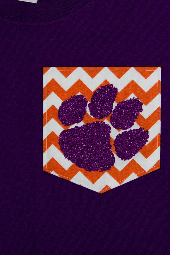 Chevron Pocket T-Shirt with Heat Set Glitter Tiger Paw. Perfect for Clemson Fans!