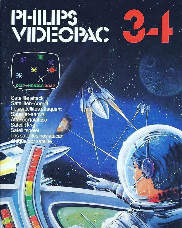 WEBSTA @favoritevideogamessince71 Satelite Attack (1981 Video Cart For Videopac / Odyssey 2). You may think this is an Asteroids clone but the mechanics of the game are totally different. Firstly your spaceship can fly in the standard eight directions; there is no turn/thrust and no inertia. Your shield is permanently on and I use this as the main means of destroying (I assume judging by the title) the satellites.