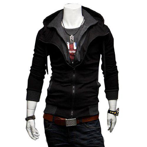 Fancy Dress Store 3 Colors Mens Casual Zip Up Top Hoodie Jackets Slim Coats (M, Black) Fancy Dress Store
