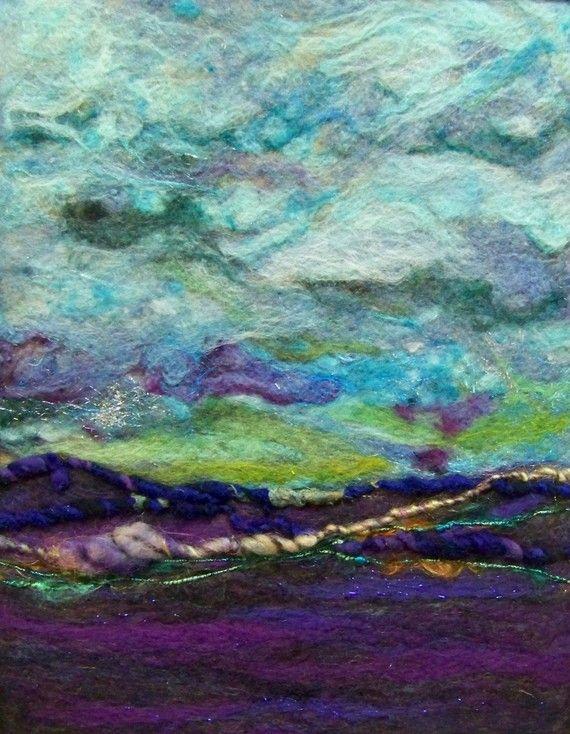"""Blue Sky"" needle-felted piece (Deebs Fiber Art on Etsy)"