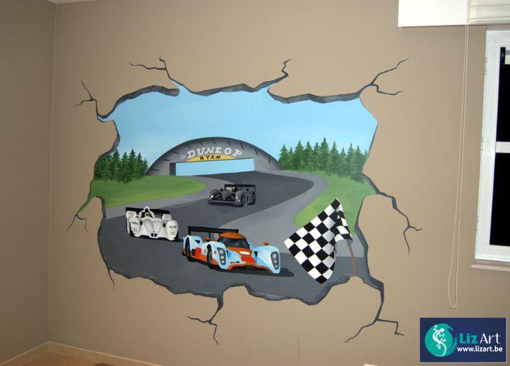 Muurschildering LMP1 race Le Mans