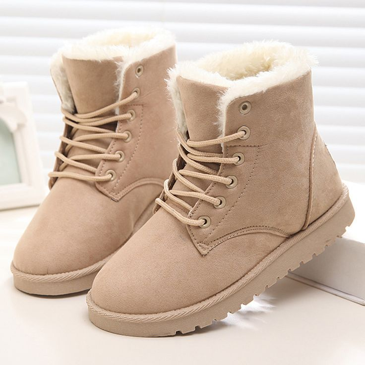 Cheap shoes outdoor, Buy Quality shoes warrior directly from China shoe metal Suppliers: Women Boots 2016 Plush Ankle Boots For Women Winter Boots Lace Up Ladies Winter Shoes Black Red