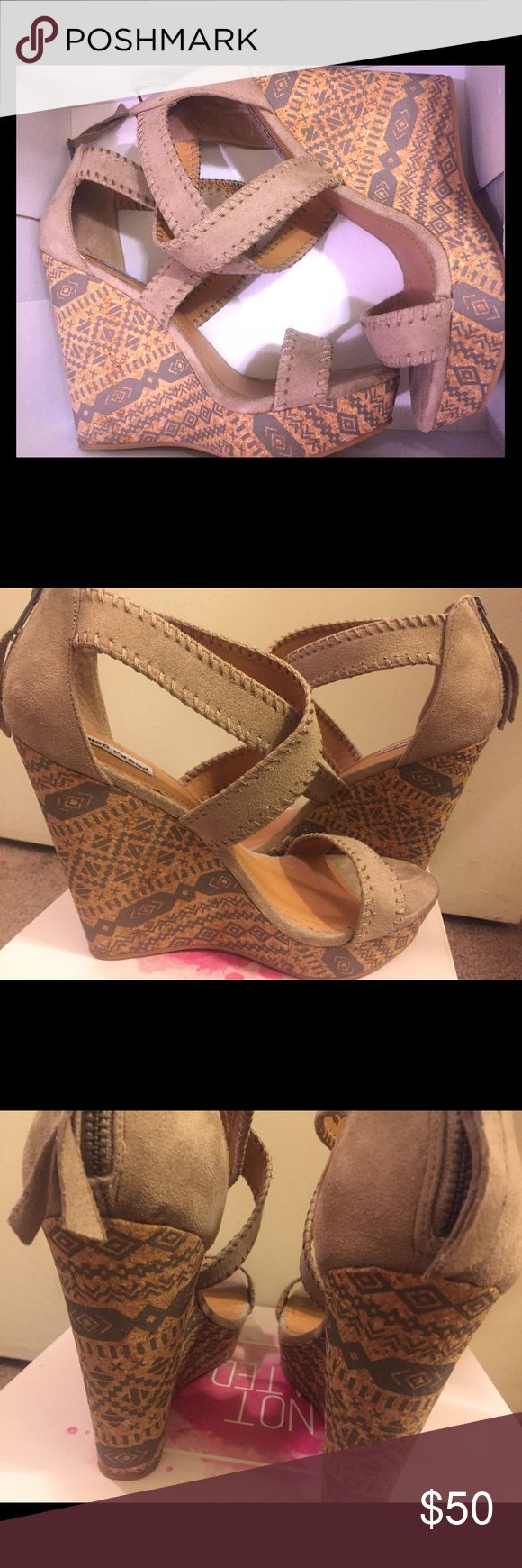 """Brand new sz 10 women suede aztec wedges Brand new suede aztec print style wedges! Zip up on the back! Fashionable and chic!! 5""""inch wedge Shoes Sandals"""