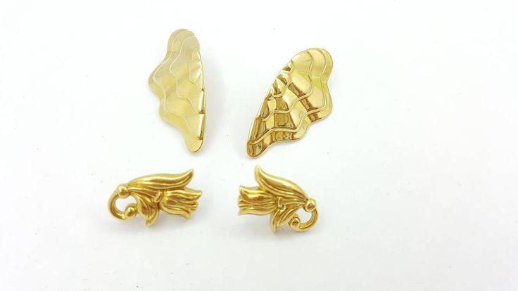 Avon Spring Tulip pierced earrings 1990 Enchanted Wings 1986 Pierced earrings lot of two pair