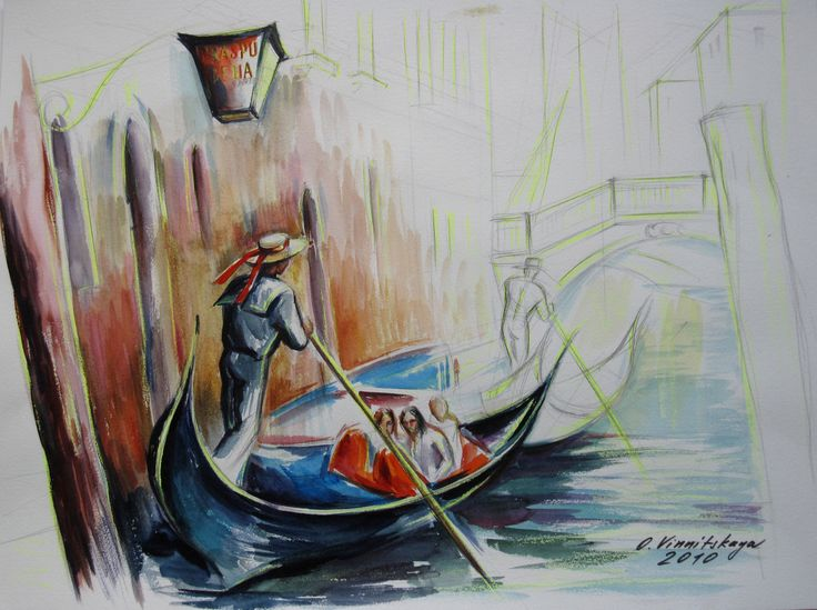 Olga Vinnitskaya. Venezia, Aquarell mit Neon-Stiften auf Papier.