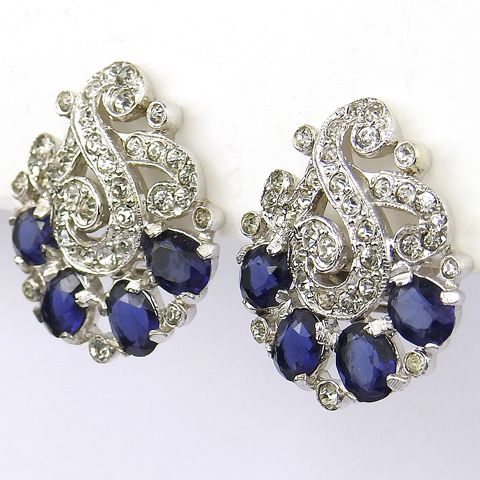 Trifari 'Alfred Philippe' Triple Pave Swirls and Sapphire Fruits Clip Earrings